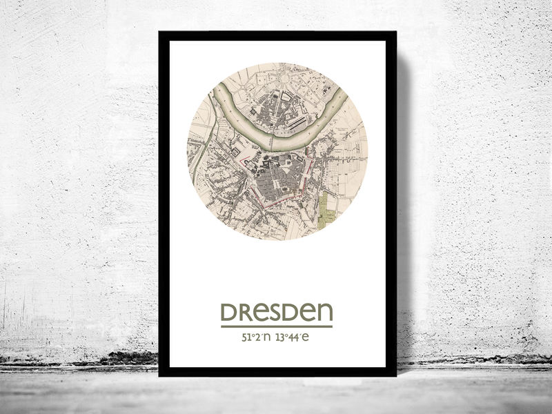 DRESDEN - city poster - city map poster print - product image
