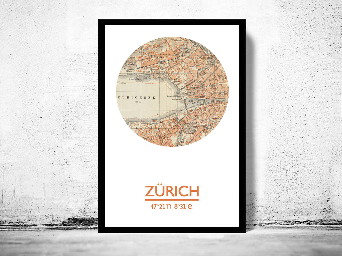 ZüRICH - city poster - city map poster print - product images  of
