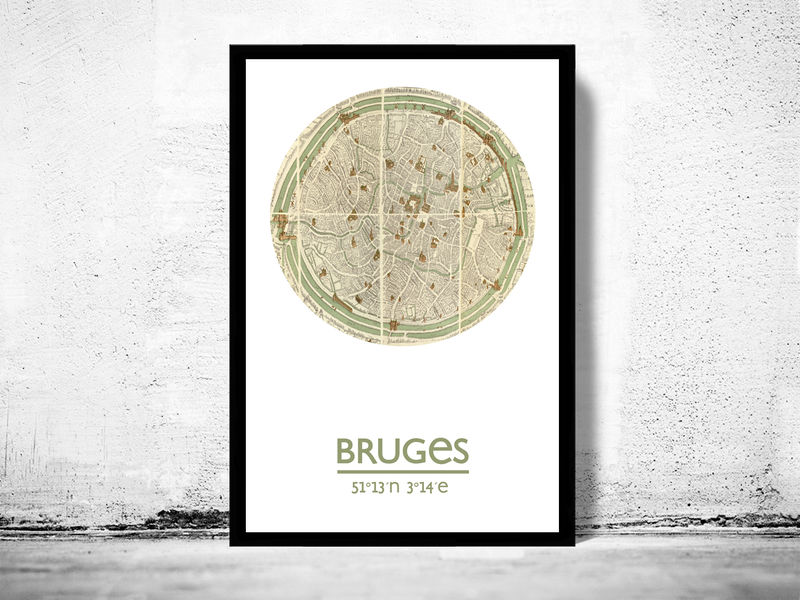 BRUGES - city poster - city map poster print - product image