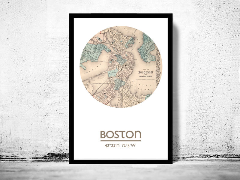 BOSTON - city poster - city map poster print - product image