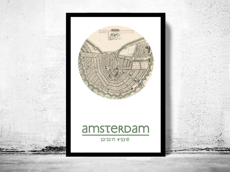 AMSTERDAM - city poster - city map poster print - product image