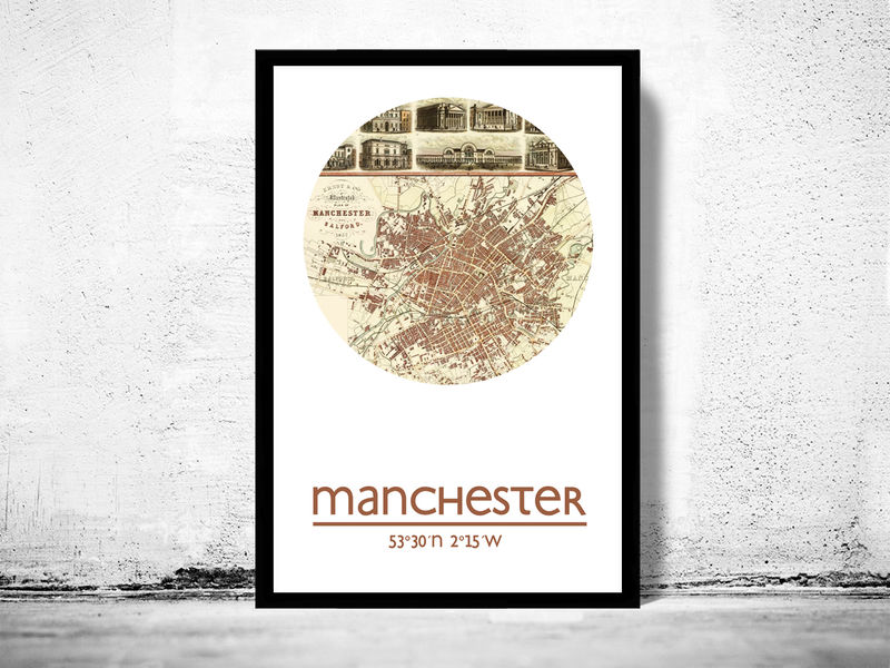 MANCHESTER - city poster - city map poster print - product image