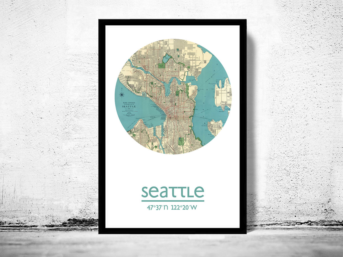 SEATTLE - city poster - city map poster print - product images  of