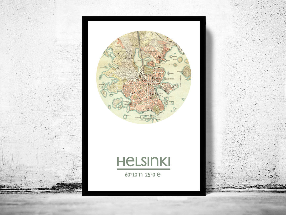 HELSINKI - city poster - city map poster print - product images  of