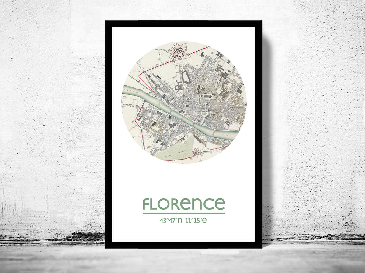 FLORENCE - city poster - city map poster print - product images  of