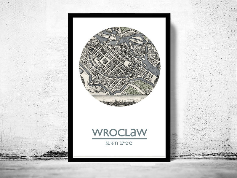 WROCLAW - city poster - city map poster print - product image