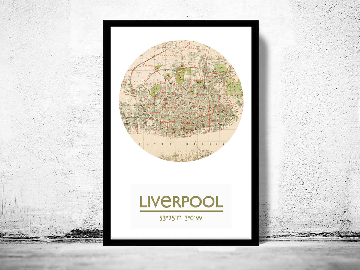 LIVERPOOL - city poster - city map poster print - product images  of