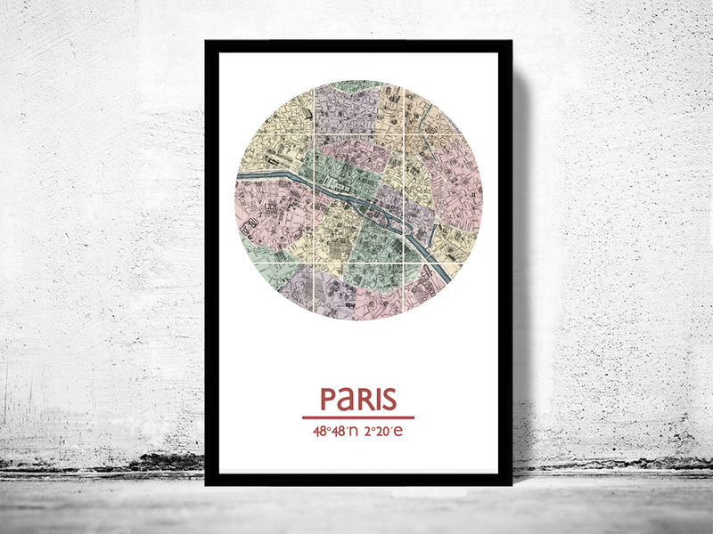 PARIS - city poster - city map poster print - product image