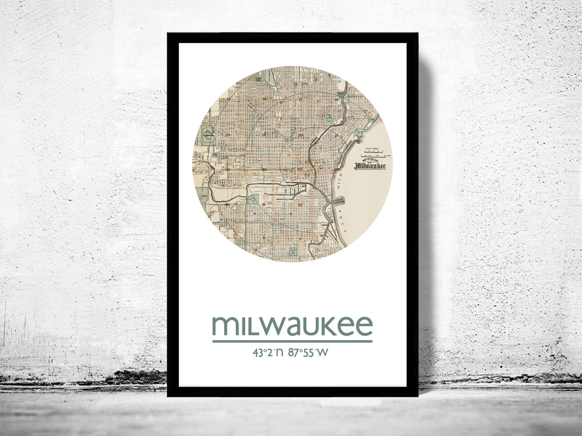 MILWAUKEE - city poster - city map poster print - product images  of