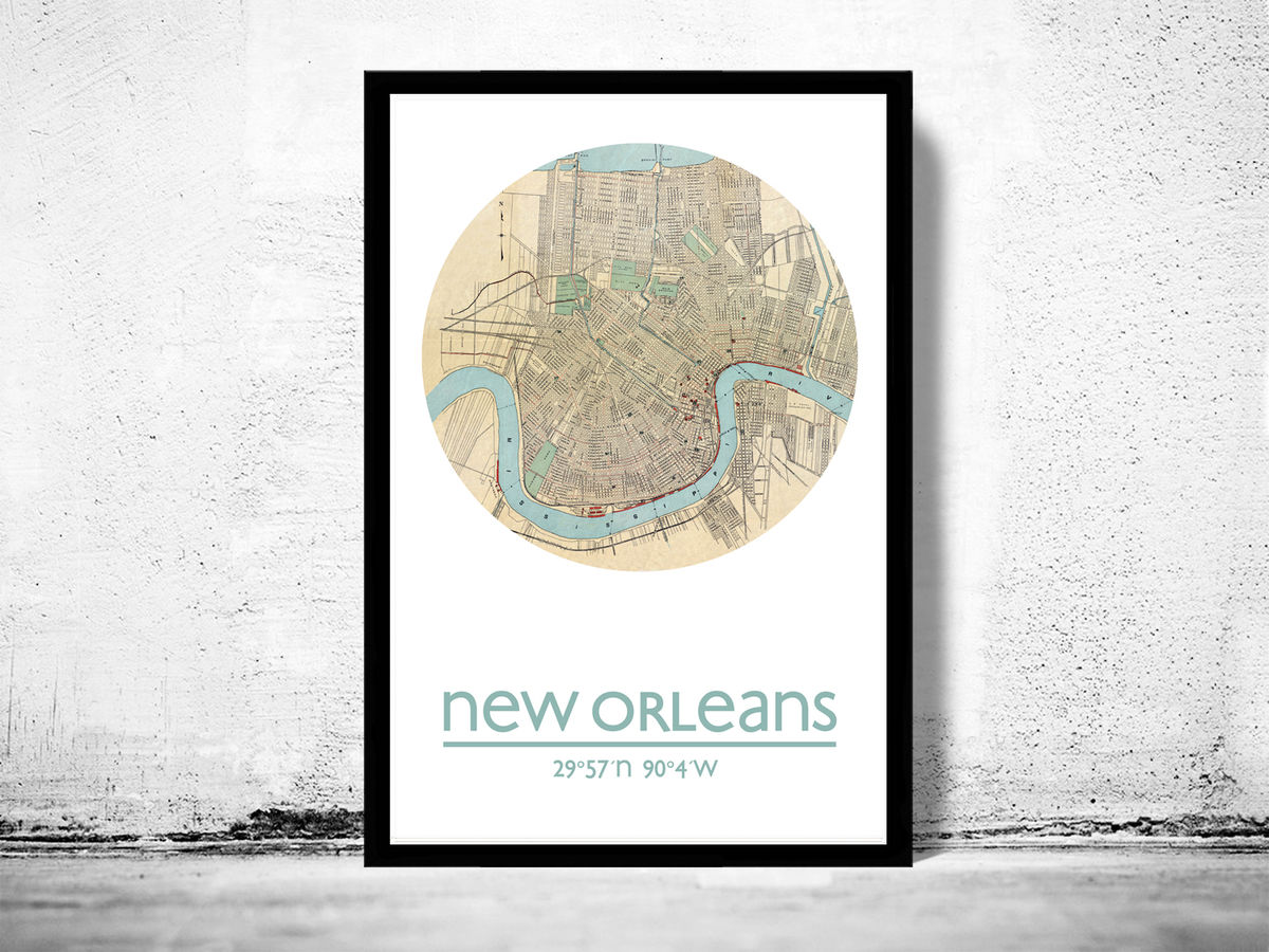 NEW ORLEANS - city poster - city map poster print - product images  of