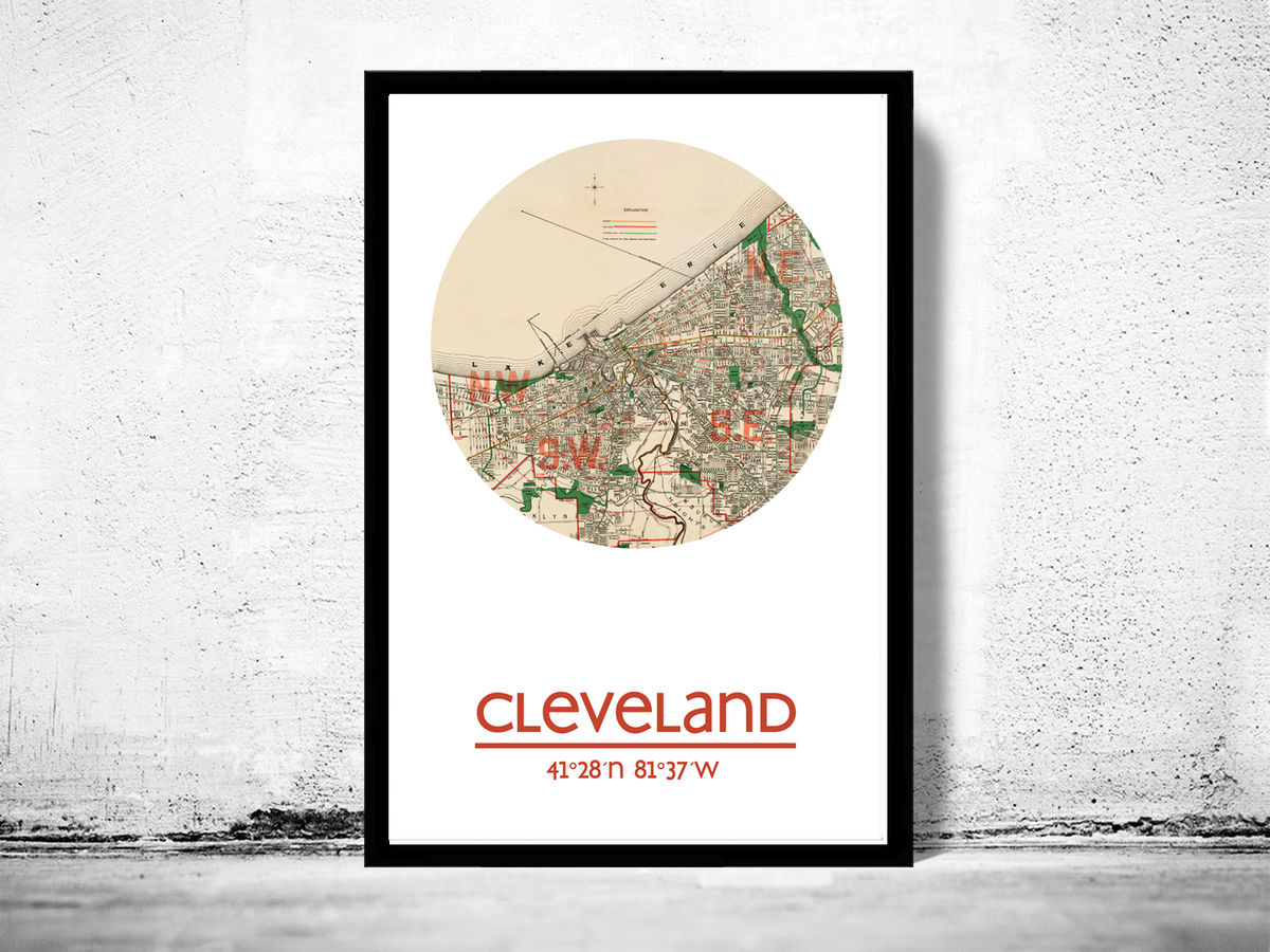 CLEVELAND - city poster - city map poster print - product images  of