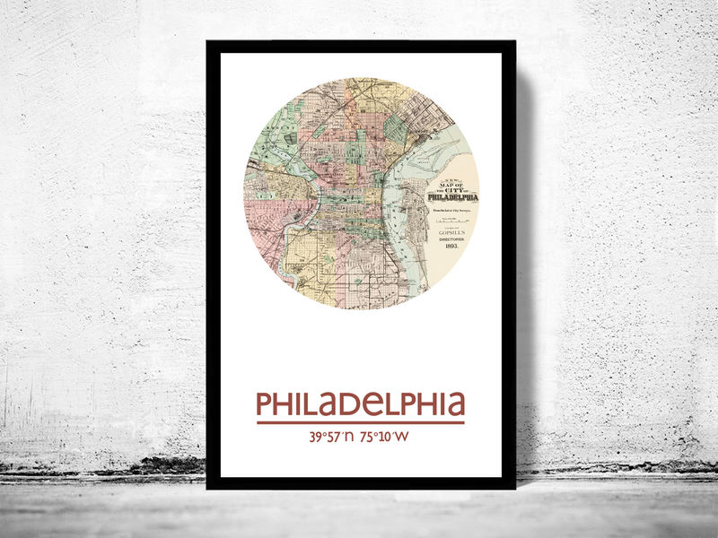 PHILADELPHIA (2) - city poster - city map poster print - product image