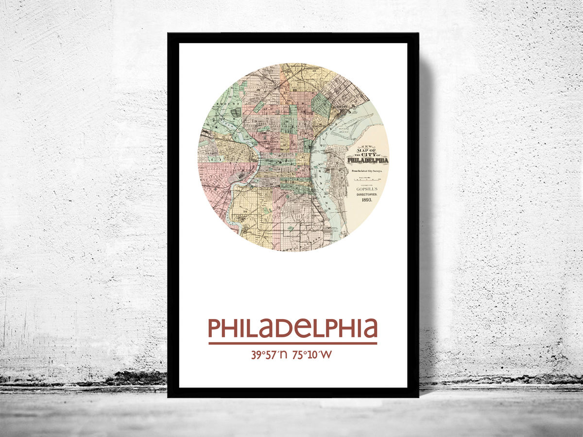 PHILADELPHIA (2) - city poster - city map poster print - product images  of