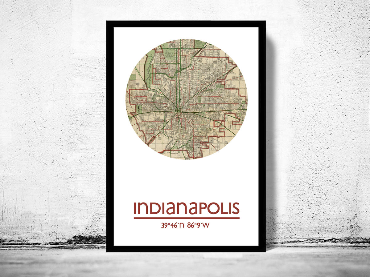 INDIANAPOLIS - city poster - city map poster print - product images  of