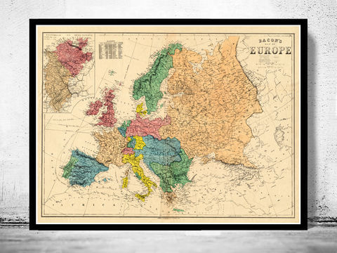 Old,Europe,Map,1870,map of europe, europe, europe map, old map, vintage map, antique map