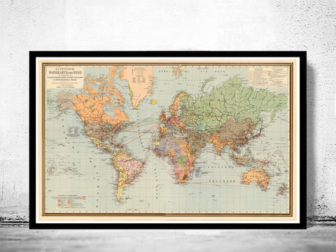World,Map,Vintage,Atlas,1899,German,edition,world map, map of the world, atlas of the world, world maps for sale, vintage map of the world