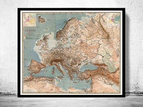 Old,Europe,Map,1875,German,Edition,map of europe, europe, europe map, old map, vintage map, antique map