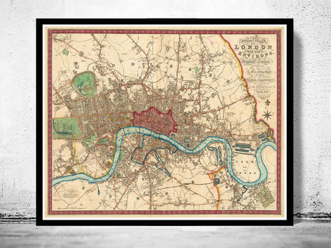 Old,London,Map,1822,victorian london, london maps sale, map reproduction, old maps for sale, london map, map of london, london poster, Art,Reproduction,Open_Edition,city,vintage,illustration,gravure,vintage_map,city_plan,england,united_kingdom,london,old_map,engraving