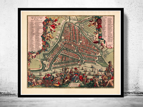 Old,Map,of,Rotterdam,,Netherlands,1700,Antique,Vintage,rotterdam, rotterdam map, map of rotterdam, old map, amsterdam map