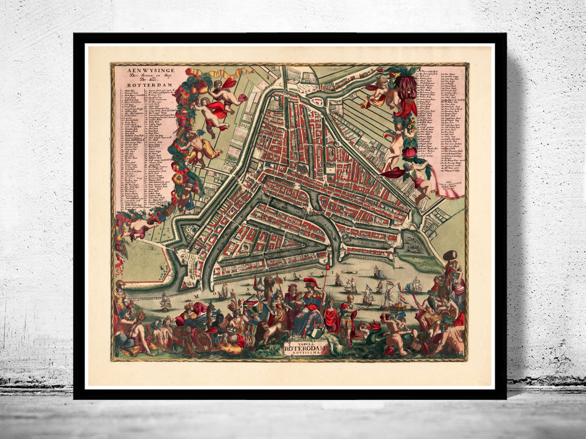 Old Map of Rotterdam, Netherlands 1700 Antique Vintage Map - product images  of