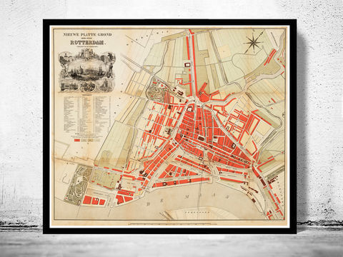 Old,Map,of,Rotterdam,,Netherlands,1865,rotterdam, rotterdam map, map of rotterdam, old map, amsterdam map