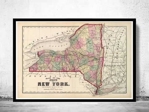 Vintage,Map,of,New,York,State,1895,map of long island, long island poster, long island map, long island print, new york long island, maps, old maps, antique maps