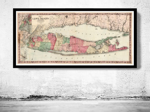 Old,Map,of,Long,Island,1863,map of long island, long island poster, long island map, long island print, new york long island, maps, old maps, antique maps