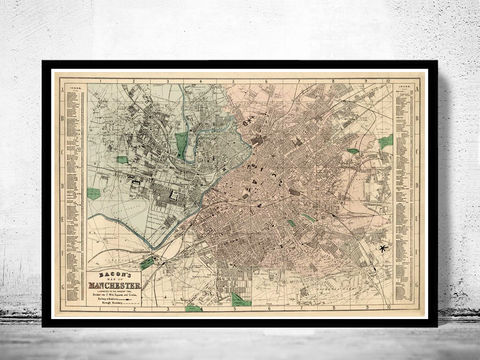 Old,Map,of,Manchester,and,Salford,1880,old maps, antique maps, old map of manchester, Art,Reproduction,Open_Edition,illustration,gravure,vintage_map,England,United_Kingdom,retro_manchester,manchester_vintage,manchester_map,old_map_manchester,old_manchester