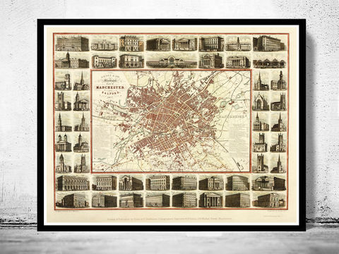Old,Map,of,Manchester,with,gravures,,england,1857,Vintage,Art,Reproduction,Open_Edition,illustration,gravure,vintage_map,England,United_Kingdom,retro_manchester,manchester_vintage,manchester_map,old_map_manchester,old_manchester
