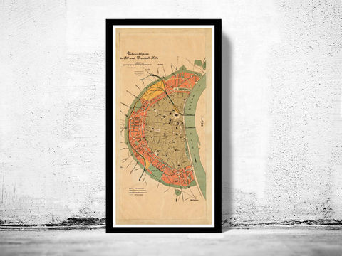 Old,Map,of,Koln,Cologne,Germany,1888,Vintage,koln map, map of koln, koln germany, cologne, koln poster,old maps for sale, buy map, maps reproductions, map shop,  antique map,antique, map