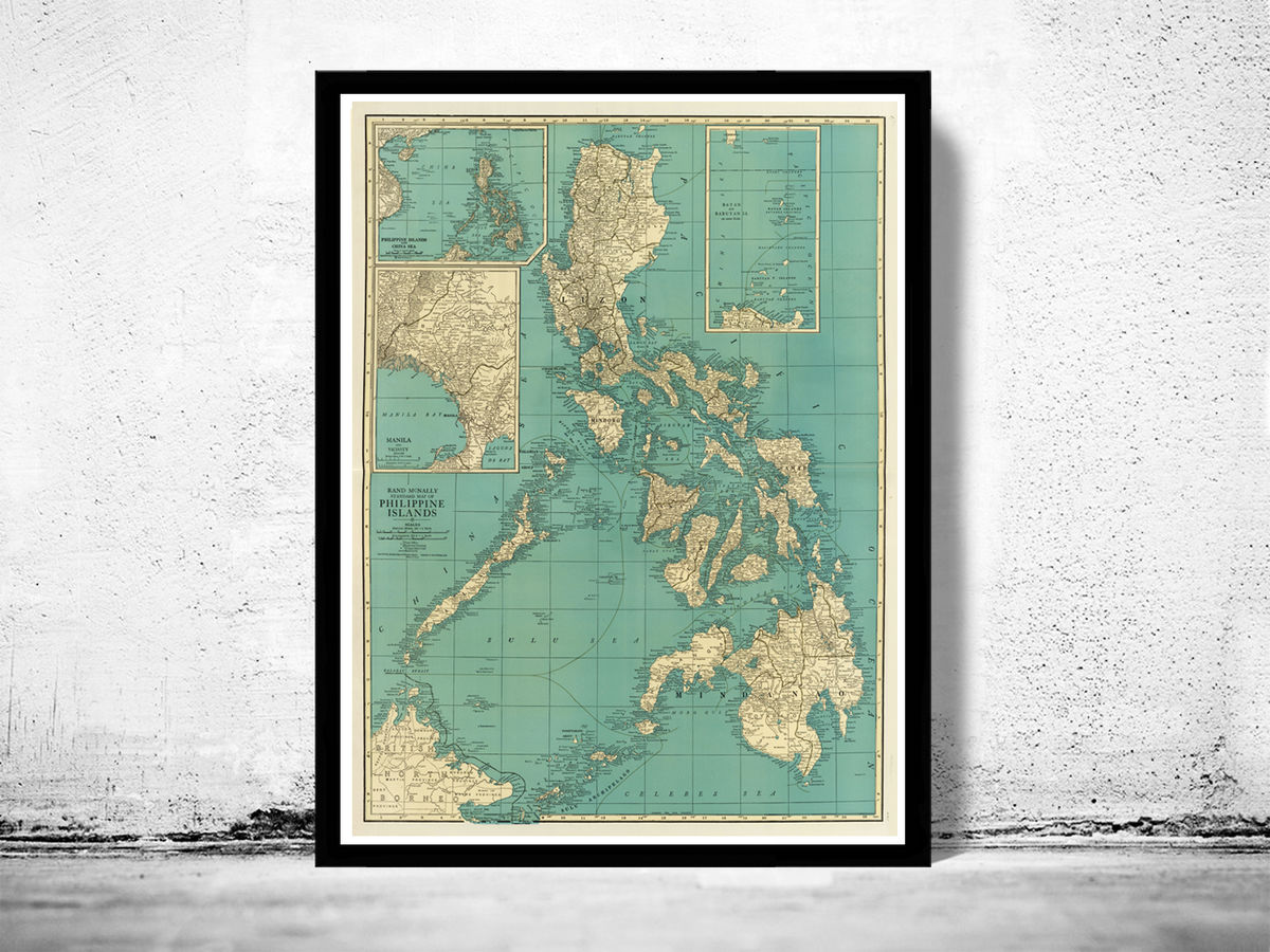 Old Map of Philippine Islands Philippines 1924 - product images  of
