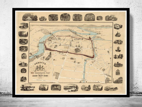 Old,Map,of,Chester,ancient,City,Gales,UK,1900,chester gales, chester map, chester city, map of chester , chester poster, map of chester, vintage decor, chester england