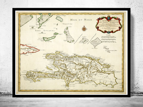 Old,Map,of,Haiti,and,Dominican,Republic,1725,Santo Domingo, Hispaniola Island, Haiti, Dominican Republic, Dominican Republic map, Haiti map, Dominican Republic Poster, vintage map