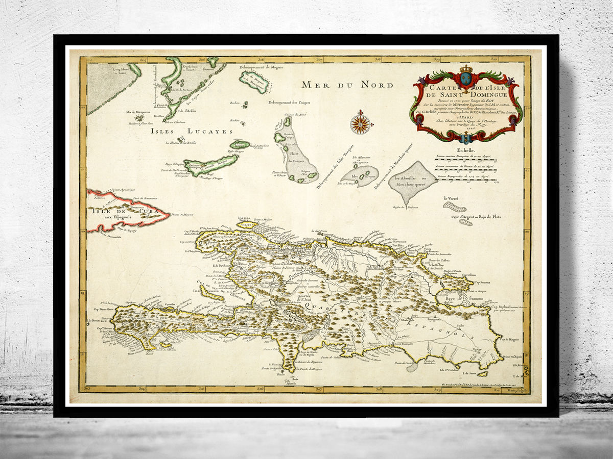 Old Map of Haiti and Dominican Republic 1725 - product images  of