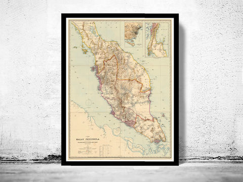 Old,Map,of,Malay,Peninsula,Singapore,1898,singapore, old map of singapore, singapore poster, singapore retro, vintage singapore,Art,Reproduction,,vintage_map,old_singapore city, malay peninsula, malacca