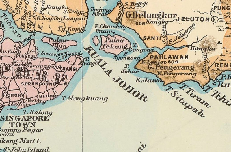Old Map of Malay Peninsula Singapore 1898 - product image