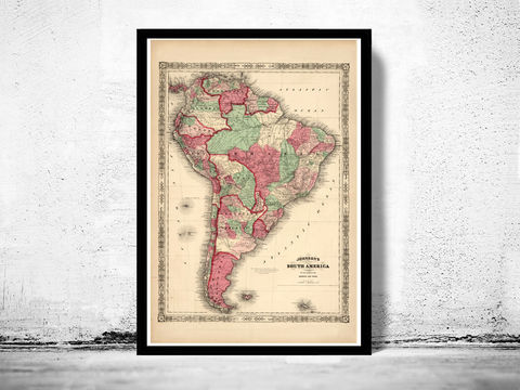 Old,Map,South,America,1863,Art,Reproduction,Open_Edition,old_map,atlas,south_america,america_meridional,brasil,argentina,chile,venezuela,panama,peru,vintage_map,brasil_map,south_america_map, map of south america, old map, vintage map