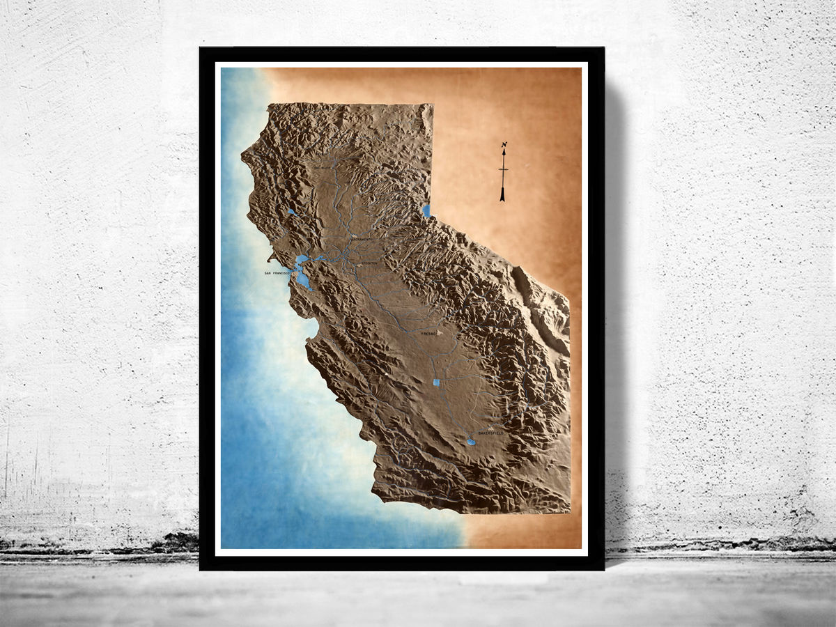 Vintage Map of California Physical map - product images  of