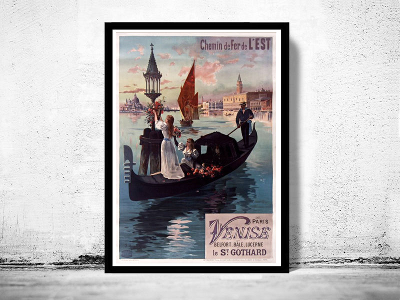 Vintage Poster of Paris France  1950 Tourism poster travel - product images