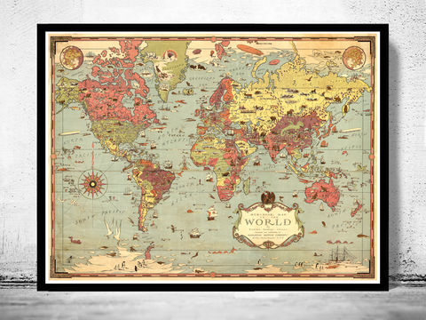Old world map world wonders vintage poster old maps and vintage prints oldworldmapvintageposterworld wonders world map gumiabroncs Gallery