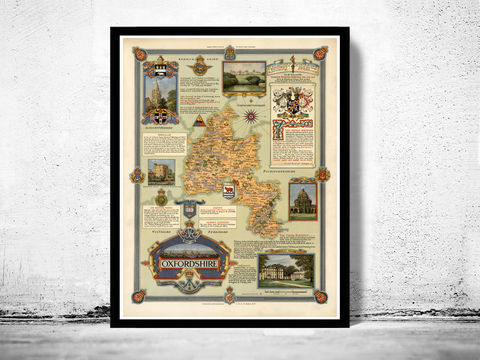 Vintage,OxfordShire,Map,Oxford,UK,oxford, oxfordshire map, gloucestershire, buchinghamshire, old map of oxford