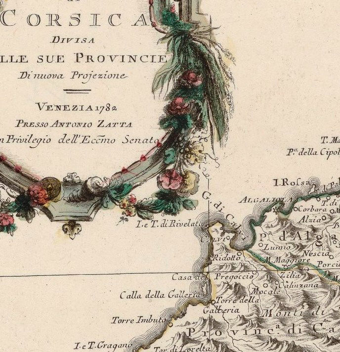 Old Map of Corsica Isle de Corse 1782 - product image