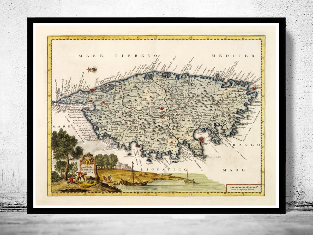 Old Map of Corsica Isle de Corse 1740 - product images  of