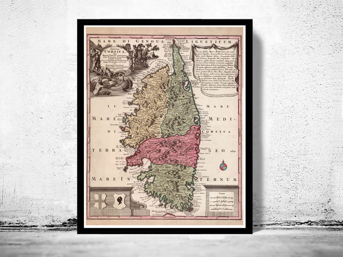 Old Map of Corsica Isle de Corse 1700 - product images  of
