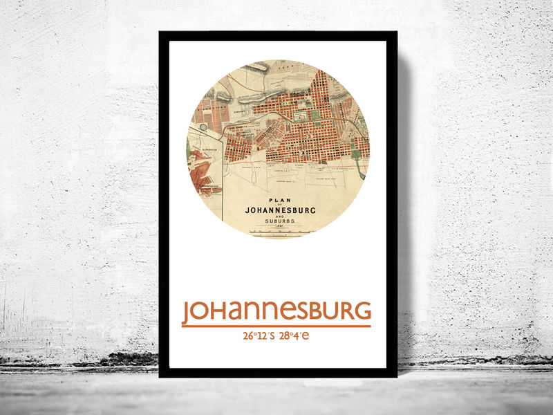 JOHANNESBURG - city poster - city map poster print - product image