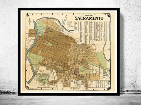 Old,map,Sacramento,California,1920,sacramento, sacramento california, sacramento map, map of sacramento,  old map of sacramento, map, poster,old maps and prints, old maps for sale, sacramento poster