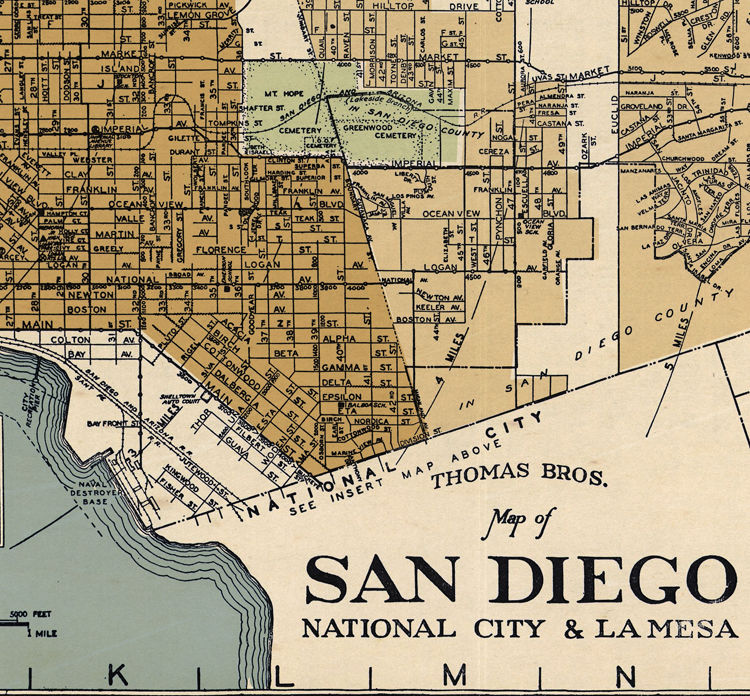 Old map San Diego California 1920 - product images  of