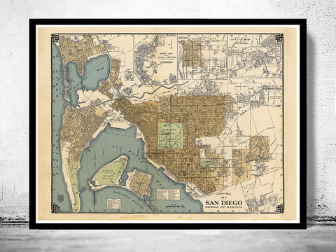 Old,map,San,Diego,California,1920,san diego, san diego california, san diego map, map of san diego,  map of san diego, map, poster, san diego poster