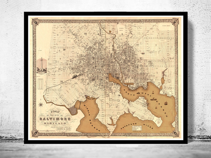 Old Map of Baltimore Antique map Maryland, 1851 - product image