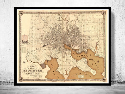 Old,Map,of,Baltimore,Antique,map,Maryland,,1851,Art,Reproduction,Open_Edition,vintage,illustration,United_States,city_map,maryland,baltimore,old_map,city_plan,vintage_map,baltimore_map,baltimore_poster,antique_map